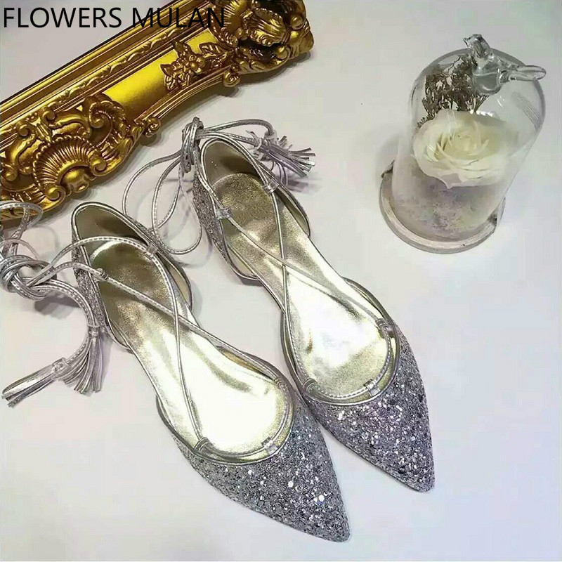 Sweet Silver Sequined Leather Upper Low Heels Shoes Woman Pointed Toe Cross-tied Ankle Strap With Tassel Girl Casual Nude Shoes