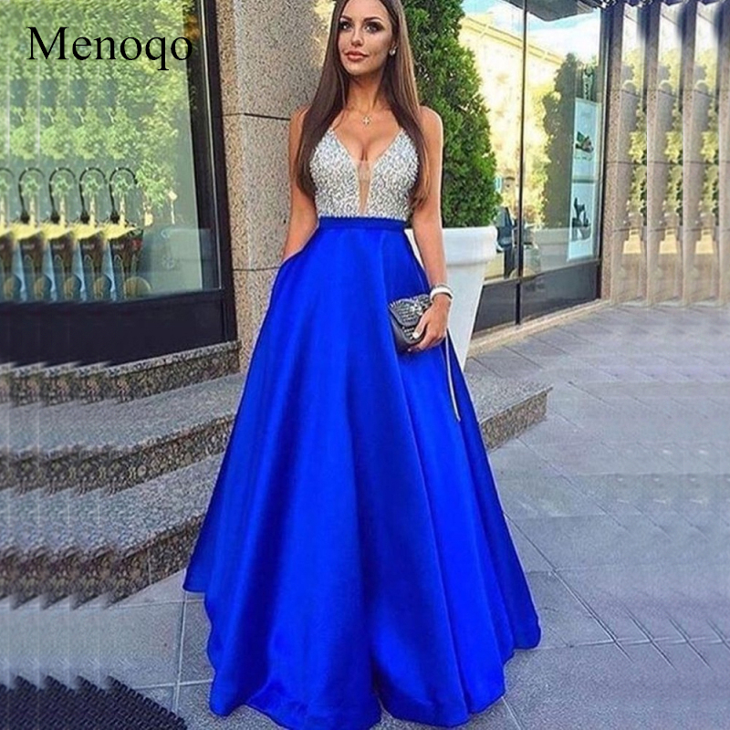 Menoqo V-Neck Beads Bodice Open Back A Line Long Evening Dress Party Elegant Vestido De Festa Fast Shipping Prom Gowns