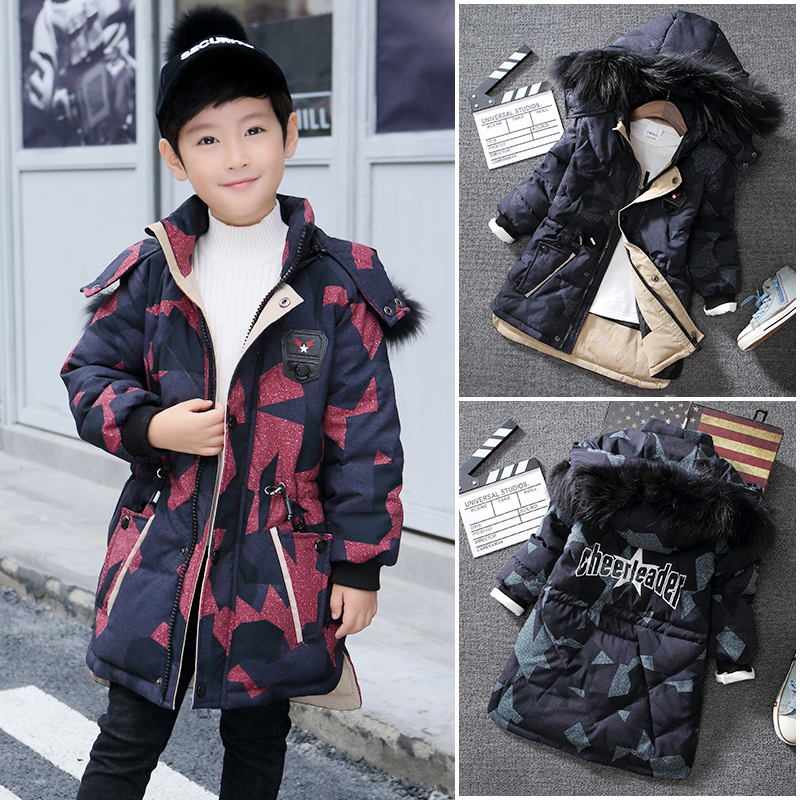New Camouflage Thick Warm Down Jackets -30 Degree Winter Boys Cotton Down Coats Children Fur Long Outerwear Kids Hooded Clothes children winter jackets for boys fur collar hooded coats camouflage thick padded cotton long jackets boys parkas warm snowsuit