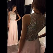 Robe de soiree longue Long Pink Prom Dresses 2017 Sleeveless Chiffon Crystal Beading A-line Evening Dresses For Women