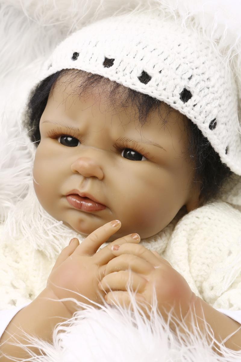 22 inch black reborn dolls african american baby doll black realistic lifelike reborn babies cloth body silicone doll brinquedo in dolls from toys hobbies