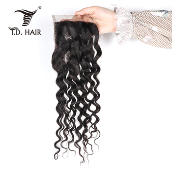 tdhair Brazilian Water Wave 8 to 20 inch 4*4 Lace Closure with Baby Hair Human Hair Closure 1PC/Lot