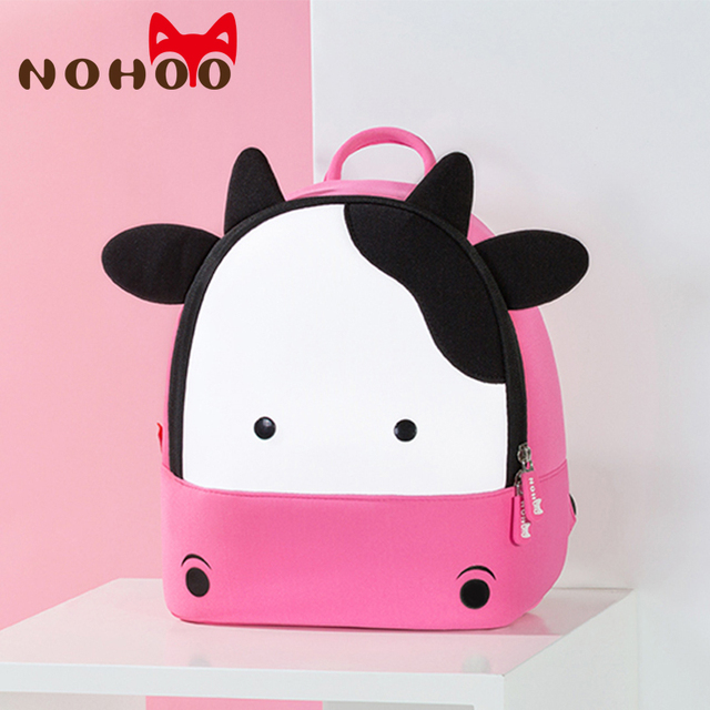 NOHOO Toddler Baby Backpack Animal Kids Baby Bags Waterproof Kindergarten 3D Cow School Bags For Girls Cute Cartoon School Bags