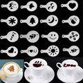 DealsOcean 16 Pcs Molde Café Leite Bolo Queque Stencil Template Barista Café Cappuccino Template Strew Pad Duster Spray Ferramentas