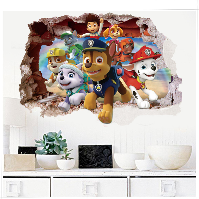 PAW Patrol 3D Stickers Cartoon For Children PVC Waterproof Broken Wall  Home Decoration Background Toys Sticker Mural Wallpaper