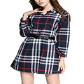 2016 Autumn New Fashion Women Elegant Plaid Knee Dress Long Sleeve Sexy Bodycon Casual Work Wear Office Party Dresses Plus Size