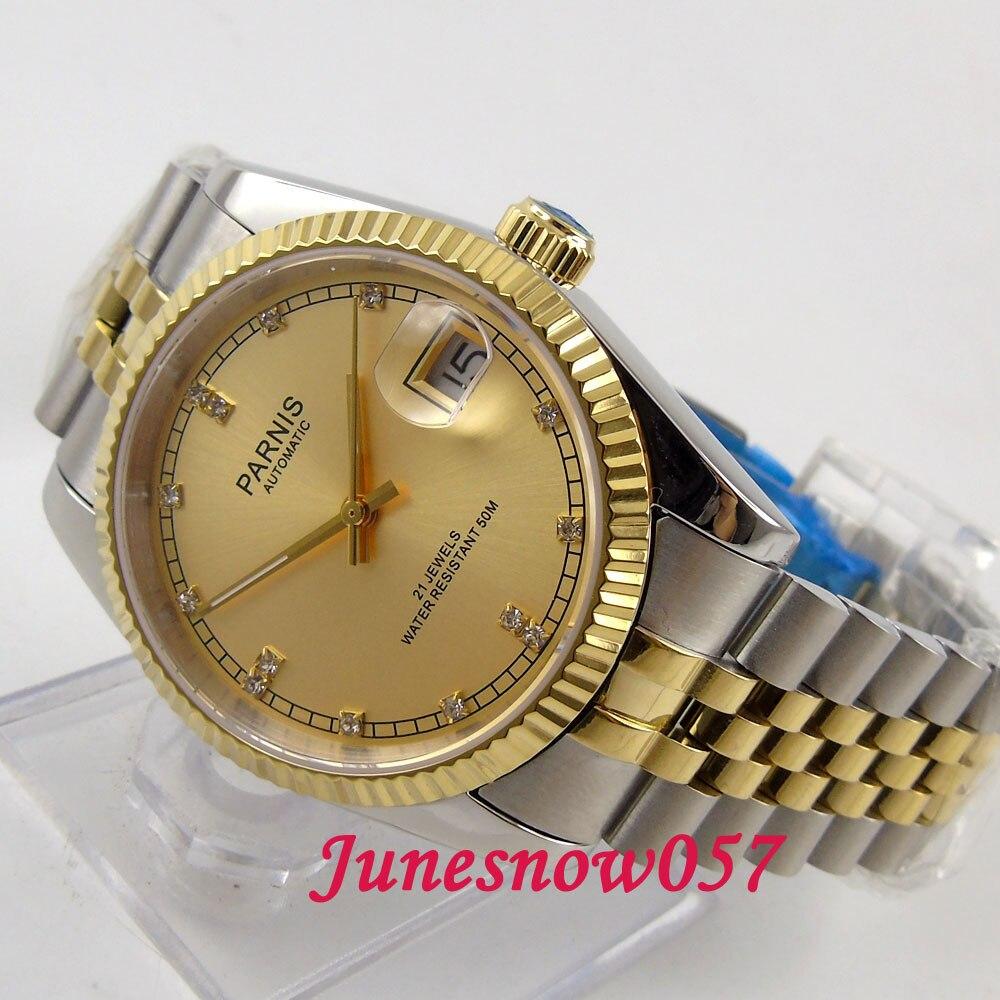 Parnis 36mm d'or cadran Diamant-comme marques date de verre de saphir 21 bijoux MIYOTA Automatique mouvement Hommes montres femmes 597