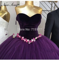 Puffy Purple Evening Dresses Ball Gown Prom Dresses With Handmade Flower Soft Velour Party Gowns Kaftan Arabic Dubai Formal Gow