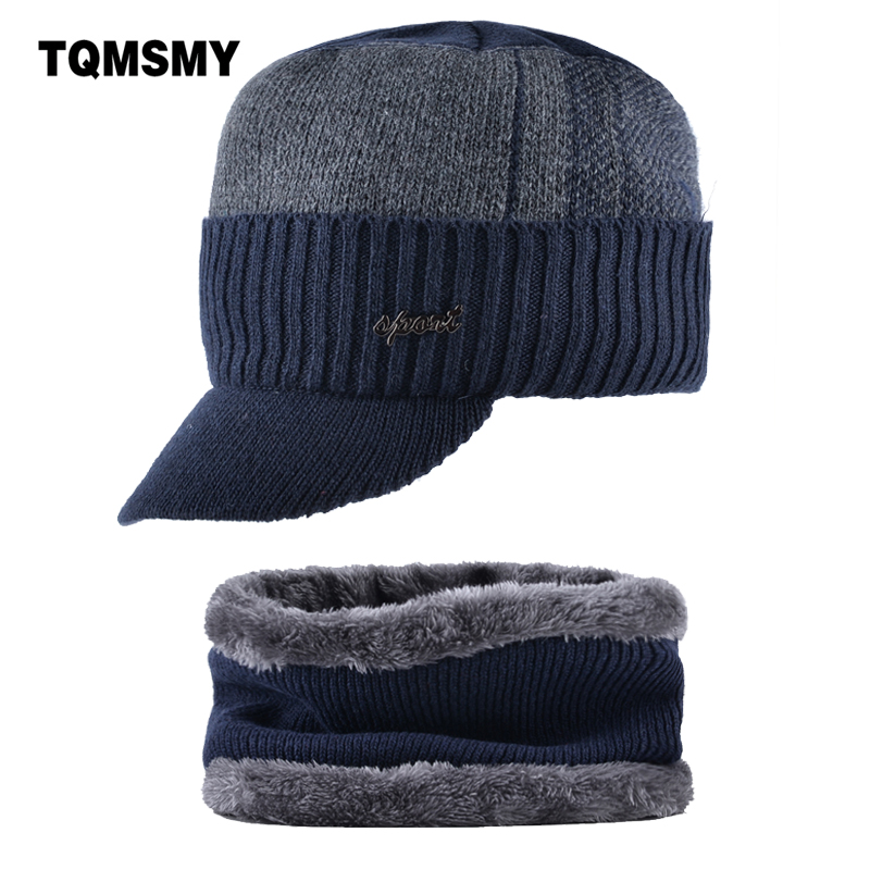 TQMSMY 2018 Warm Winter Men Thickened Baseball Cap add velvet Men's   Beanies   Hat Cap Father Knitted Hats Men collar scarf TMC34