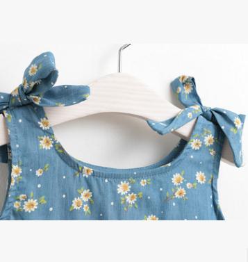 Summer Children Clothing  2019 Costume For Kids Girls 3 8 Year Flower Print Washed Denim Sleeveless Dresses For Girls Mmx17199