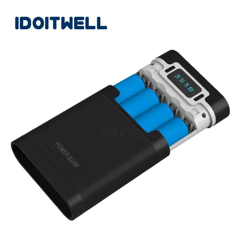 Caso de banco de potencia 18650 cargador de batería de la caja de Anti-retroceso de alimentación Dual USB Pover Banco 4X18650 cargador caja con capacidad de pantalla