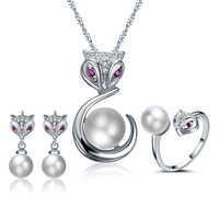 2016 Hot Sell Imitation Shell Pearl Little Fox Design 925 Sterling Silver Ladies Jewelry Set Stud