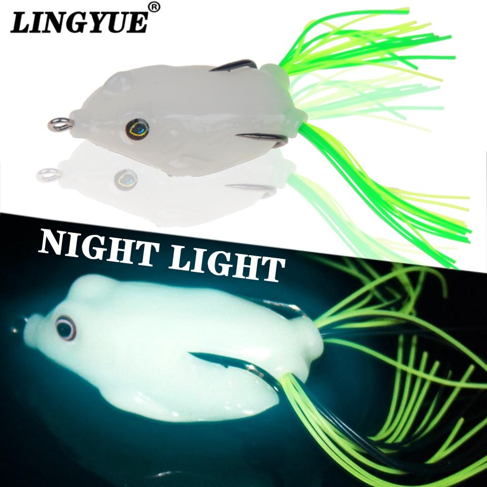 Night Light Soft Tube Bait Japan Plastic Fishing Lures Frog Lure Treble Hooks Topwater Ray Frog 5.5CM 12G Artificial Soft Bait