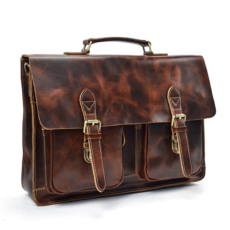 Genuine Leather Men briefcase Cowhide 15 inch Laptop Business bag Vintage Cowhide shoulder bag for man