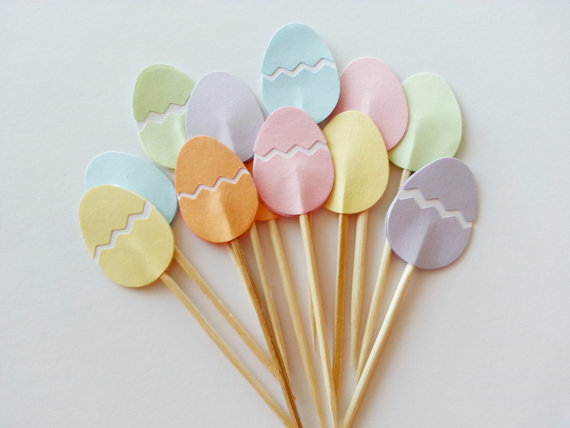 pastel easter eggs cupcake toppers wedding food picks bridal shower bachelorette cocktail tea party muffin decorations in cake decorating supplies from home