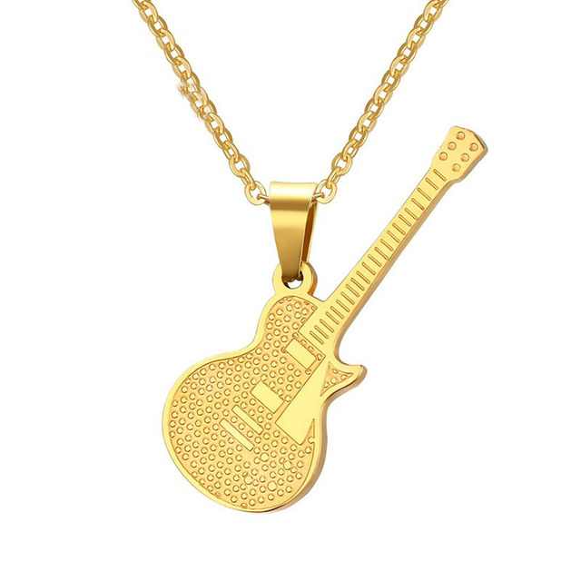 Placa de oro de la guitarra de acero inoxidable colgante de la placa de oro de la guitarra de acero inoxidable colgante de la personalidad punk rock de aloadofball Choice Image
