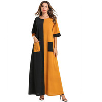 Color Patchwork Fashion Short Sleeve Summer Dress Long Muslim Robe Elegant Casual Streetwear Maxi Dresses Women Clothes TA7519