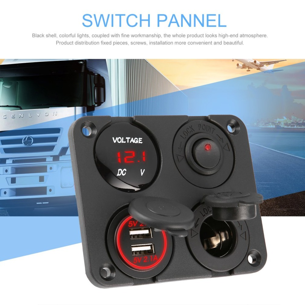 Neue Dual <font><b>USB</b></font> Ports Auto Ladegerät + LED Voltmeter + 12-24V Steckdose + Auf-Off schalter 4 in <font><b>1</b></font> Auto Marine Boot LED Schalter Panel image