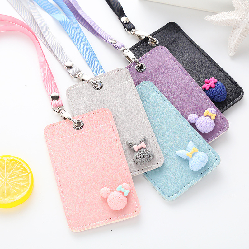 Cartoon Studentsid Card Holder with Lanyard Soft Pu Leather Identity Badge Holders Cute Girls Wallet for Cards Porte Carte стоимость