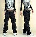 Зима Армия Брюки-Карго Женщины большой Размер 40 Свободный Танец брюки дамы Hip Hop Плюс Размер Мешковатые Брюки-Карго Для женский