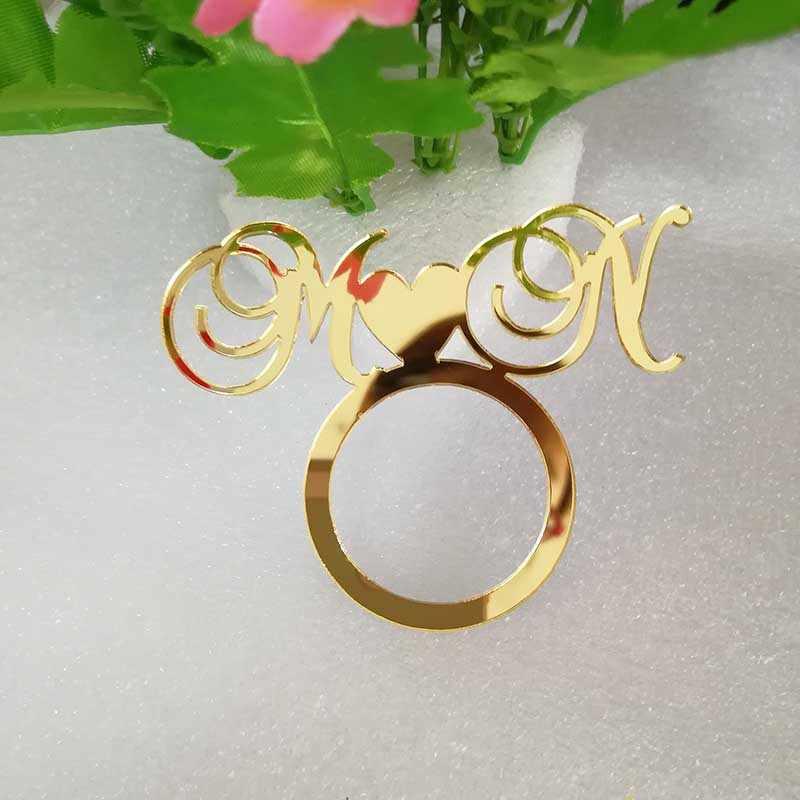 Personalized Napkin Holder Initial Wooden Mirror Gold Napkin Ring
