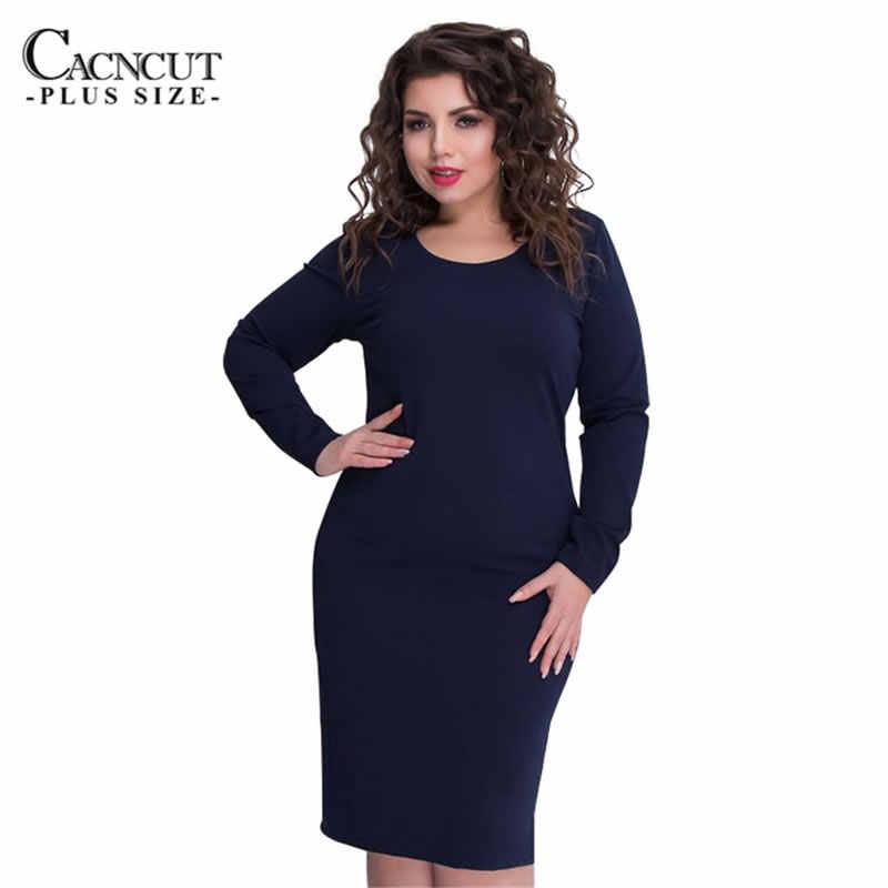6XL 2019 秋冬プラスサイズの女性の大サイズドレスペンシルドレスエレガントなbodycorn服vestidos長袖