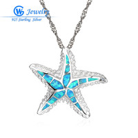 Seastar Silver Opal Pendant Fire Blue Opal Jewelry 925 Sterling Silver Pendants Real 925 Sterling Silver