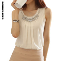 New 2014 Spring Women Blouse Ladies Casual Sleeveless Pleated White Chiffon Shirt Plus Size S XXL
