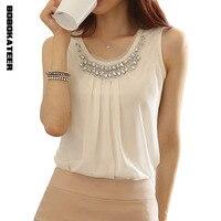 New 2014 Spring Women Blouse Ladies Casual Sleeveless Pleated White Chiffon Shirt Plus Size S XXL