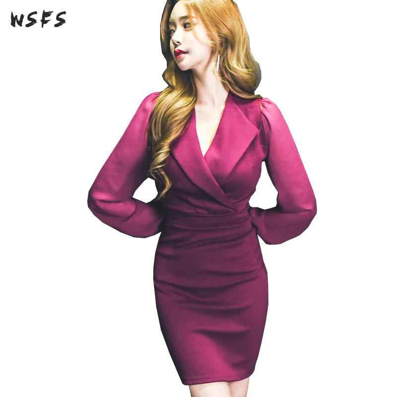 Autumn Dress Fuchsia Notched Long Sleeve Women Dress Bodycon Bandage Office  Lady Vintage Business Sexy Party c75c1a518c94