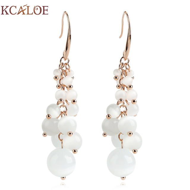 Kcaloe Natural Opal Stone Hanging Earrings Fashion Rose Gold Color Jewelry G Design Wedding Long Drop