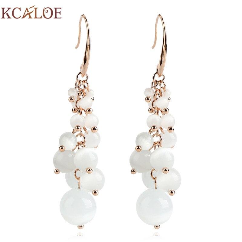 KCALOE Natural Opal Stone Hanging Earrings Fashion Rose Gold Color Jewelry Grape Design Wedding Long Drop Earring For Women
