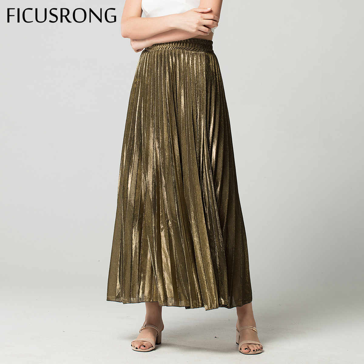 Spring Skirts Golden High Waist Slim Pleated Skirt Women's Simple Autumn A-line Skirt Streetwear Beach Skirt FICUSRONG