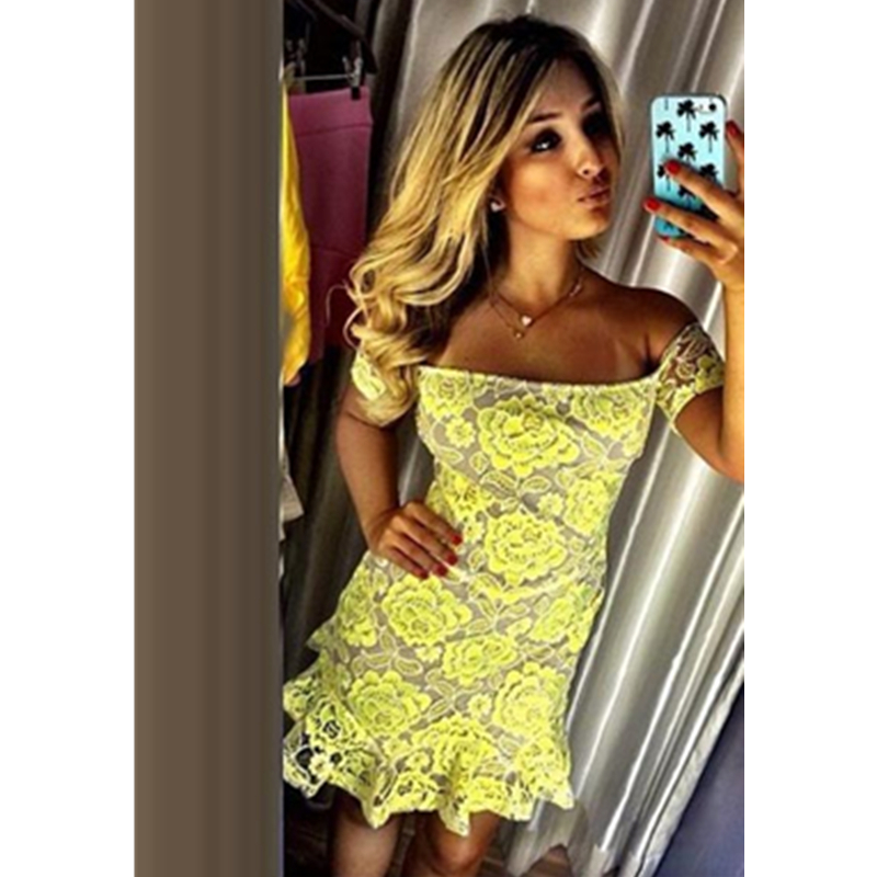 Aliexpress Buy New Women Yellow Lace Mini Dress Short Sleeves