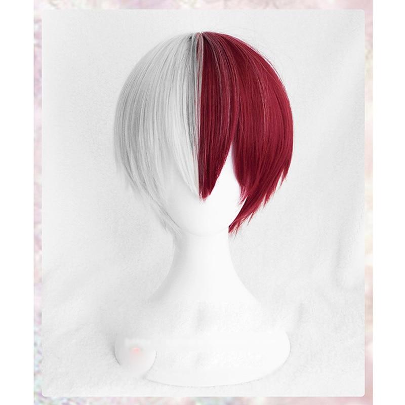 Meu herói academia boku não hiro akademia shoto todoroki shouto branco e vermelho cosplay peruca + peruca boné