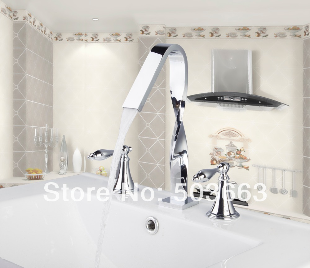 bathroom 3 pieces Deck Mounted Bathroom Basin Sink Bathtub Chrome Double Handles MF-1006 Mixer Tap Faucet deck mounted bathroom basin sink bathtub