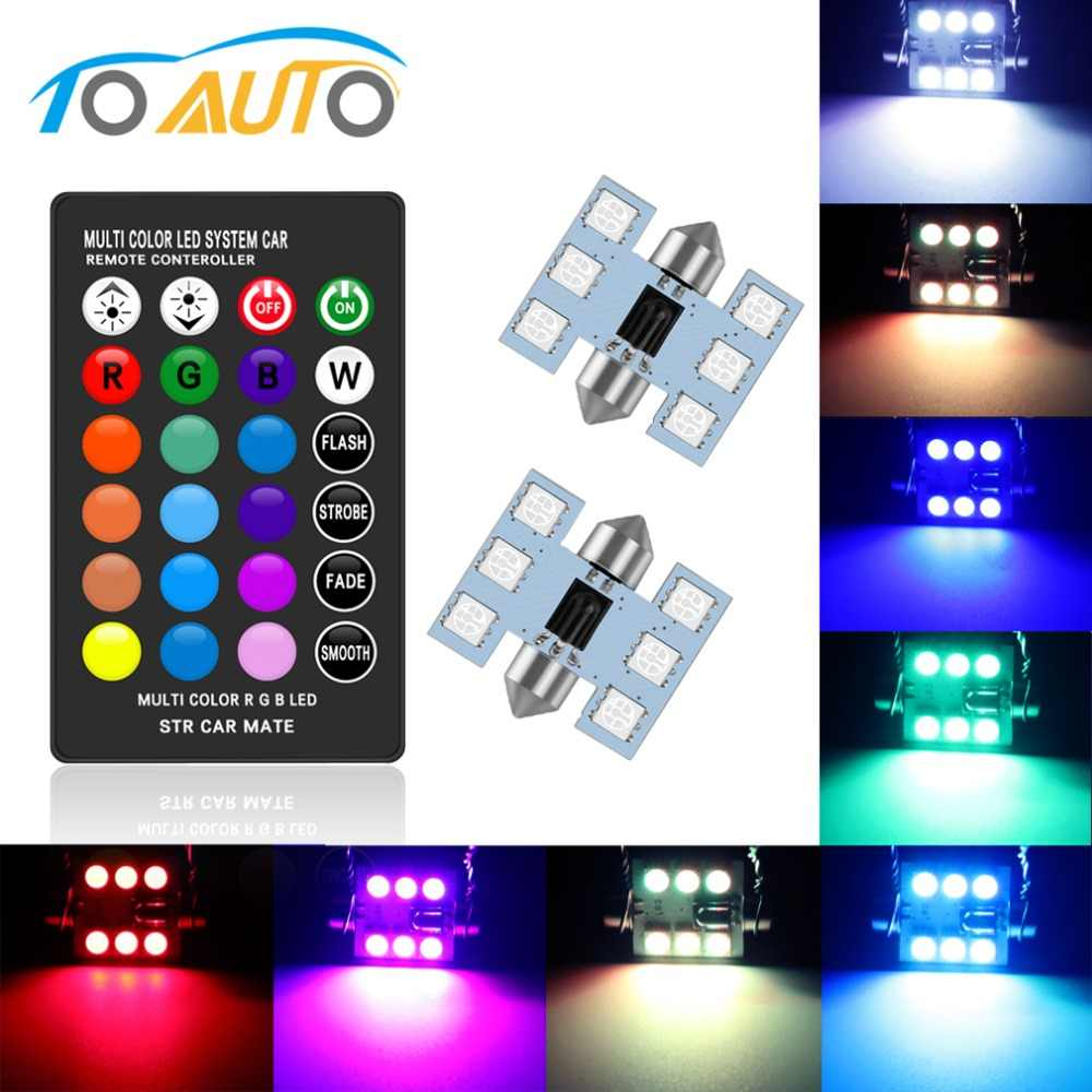 C5W LED RGB with Remote Control Festoon 31mm 36mm 39mm 41mm LED Car Interior Lights Multicolor Dome Light Reading Lamp Auto 12V