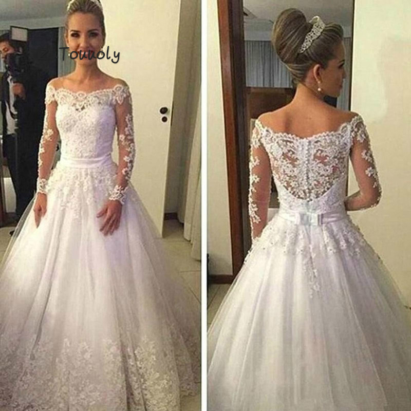 Modest White Boho Wedding Dress Boat Neck Appliques Long Sleeve Summer Garden Beach Bridal Gowns A Line Robe De Mariee Dentelle
