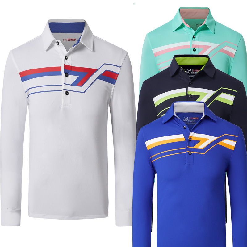 2018 new Men's Shirt Golf Autumn Long-sleeve Shirt Male Sports POLO shirts Golf clothing outdoor sportswear jersey pink tops pxg golf shirts 4 colors autumn long sleeve golf t shirt button breathable sportswear men s polo shirts striped tops shirt