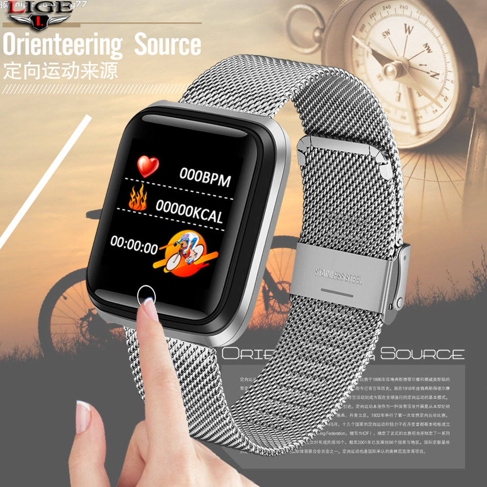 Silver Strap New Smart Sport Bracelet Women Fitness Tracker Pedometer Blood Pressure Heart Rate Monitor Waterproof Smart Watch