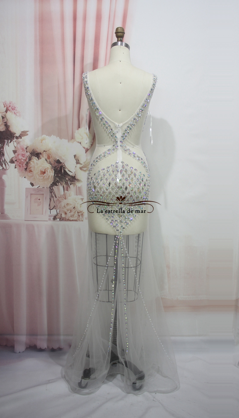 Vestido de ville prades vestidos de baile 2017v collar crystal sexy mermaid pure view white prom dress real photo galajurken