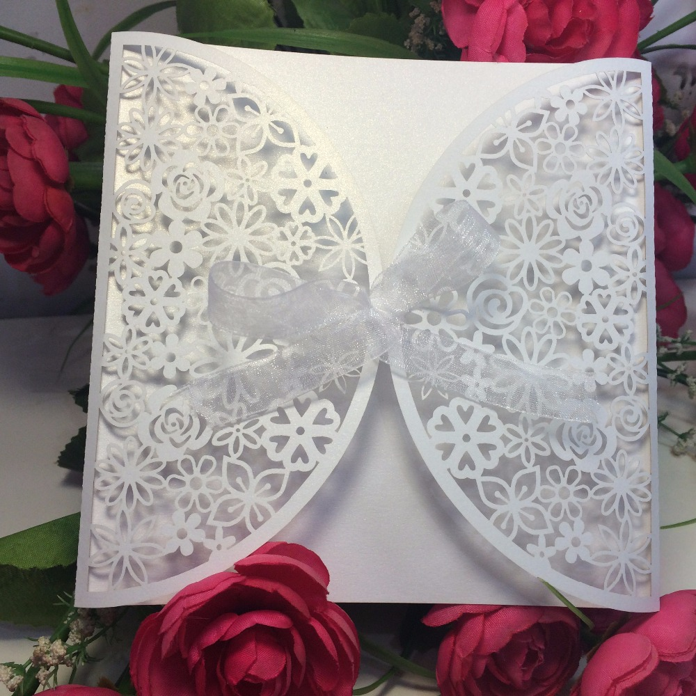 10 Personalised White Rose Wedding Invitations Day Evening N50