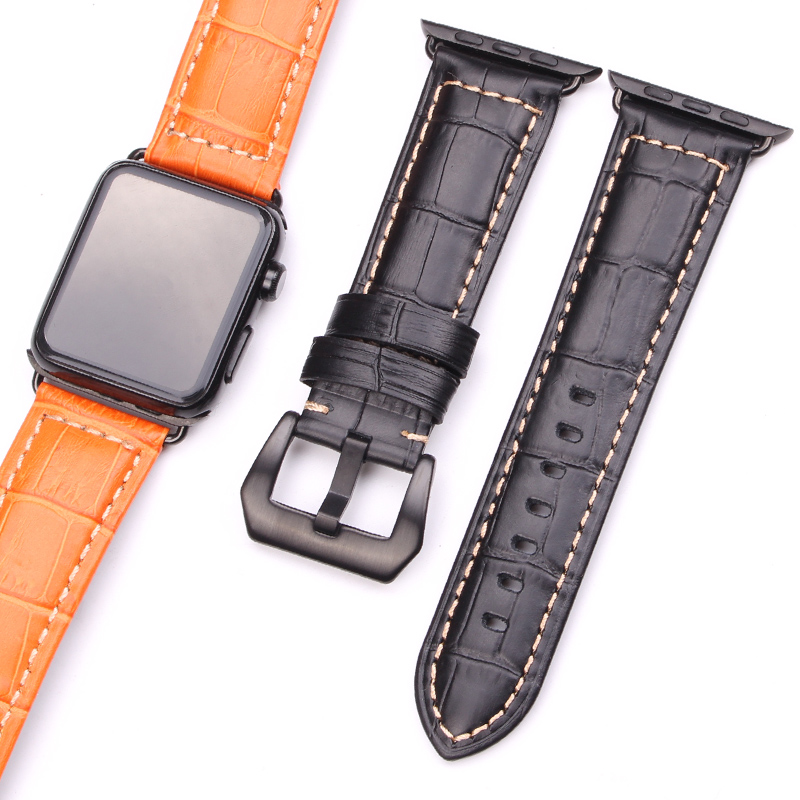 цена HENGRC Watchbands Thick Genuine Leather For Iwatch Apple Watch Band Strap 3 Colors Link Bracelet With Adapter 38mm 42mm