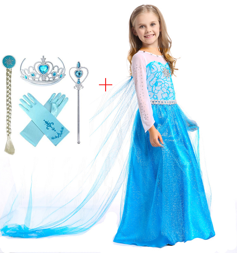 Girl Elsa Spring Summer Clothes Dresses Party Princess Anna Vestidos Children Fancy Costume Christmas Holloween Cos Long Dress children anna elsa princess birthday dresses cosplay party fancy costume with cape christmas dress child blue red clothes kids