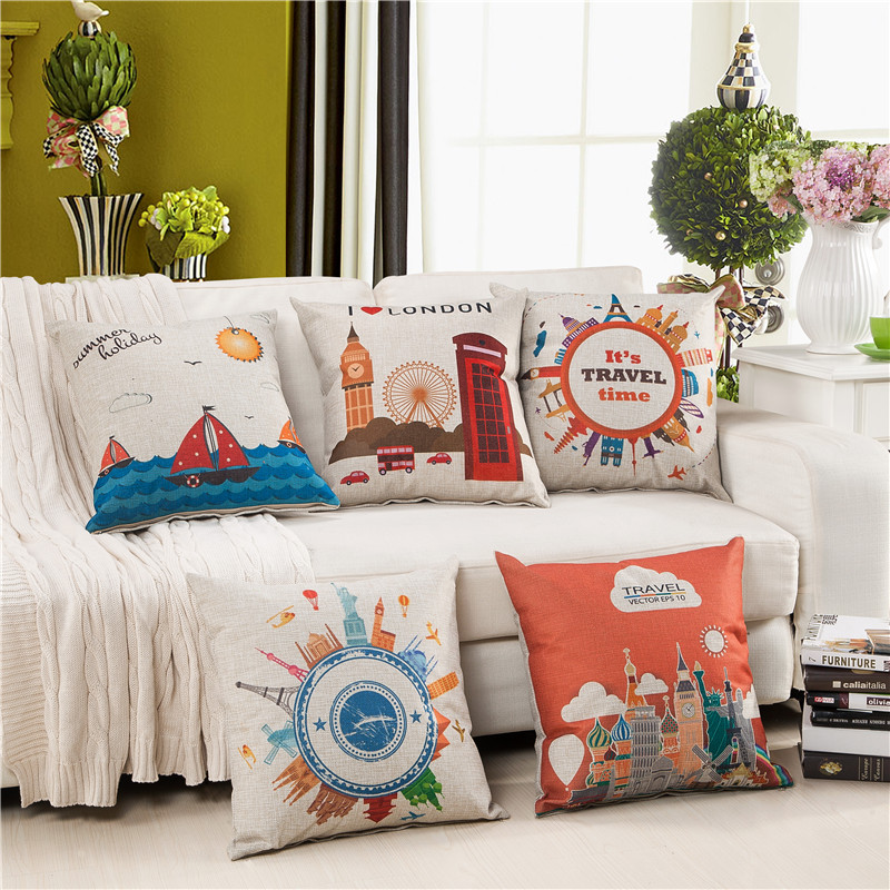 Cozzy Spring Summer New Cotton Linen Decorative Throw Pillow Case with Zipper Travel Scenic Home Cushion Cover for Sofa Couch