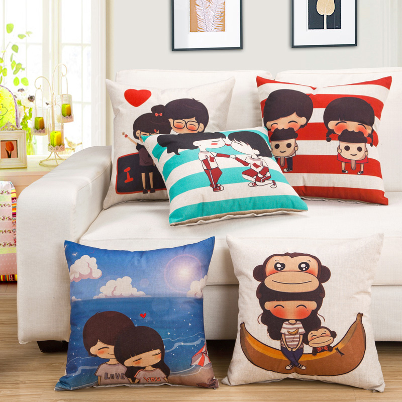 Cozzy Comic Girl Xiaoxis Life Print Square 18 Cotton Linen Decorative Throw Pillow Case Cover for Bed Home Teenage Room