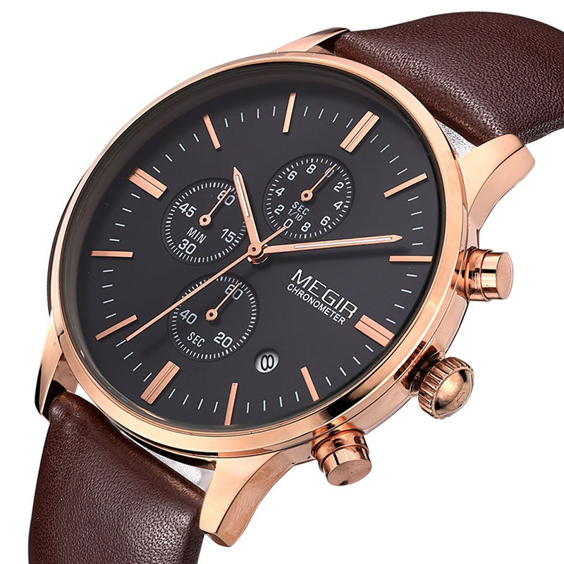 2016 Fashion Brand Luxury Watches Military Watch Men Genuine Leather Band Watch Waterproof Chronograph Function Free