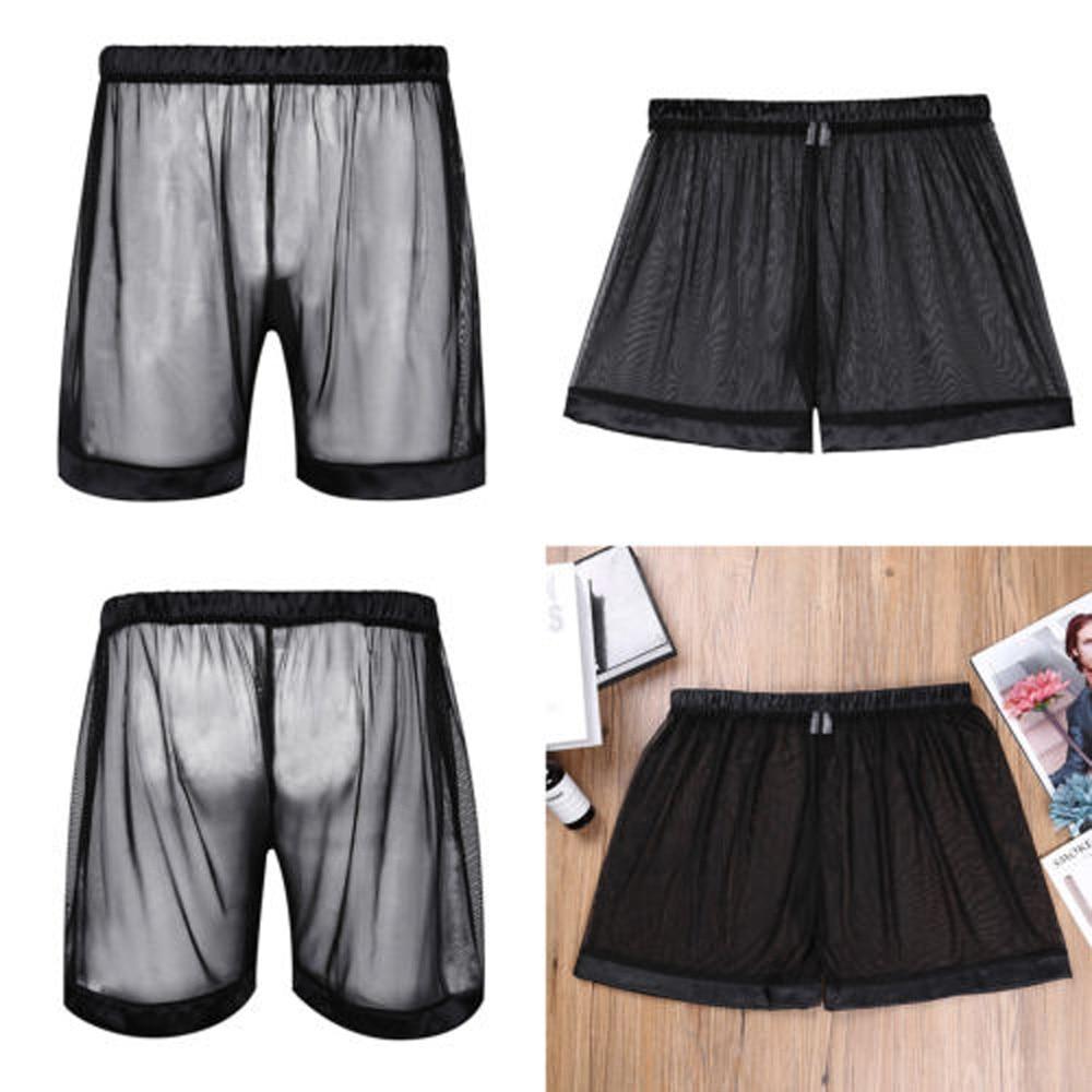Sexy Mens See-through Trunks Loose Boxer Shorts Underwear Nightwear Black NEW