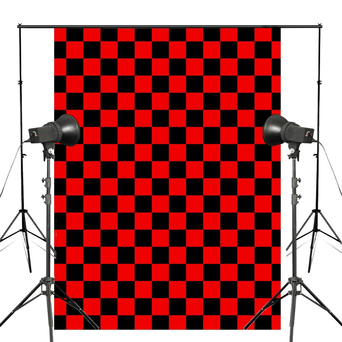 5x7ft Exquisite Checkerboard Photography Backdrops Black Red Backdrop Kids Photo Studio Children Background