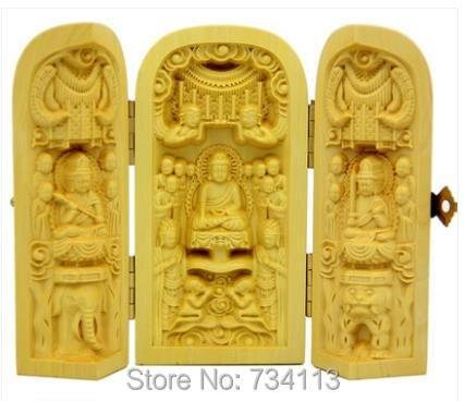 Toutes les statues de bouddha hall complet ouvert boîte style bois artisanat buddisme gocécité Bodhisattva 3 modèle en option ouest trois bouddha